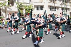 檀香山,夏威夷,美国- 2016年5月30日:威基基阵亡将士纪念日游行 库存照片