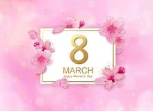 8次与花的行军现代背景设计 愉快的与樱花和瓣的妇女` s天时髦的贺卡 免版税图库摄影