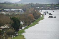 2014次英国洪水Burrowbridge 免版税库存照片