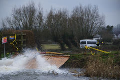 2014次英国洪水Burrowbridge 免版税图库摄影