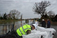 2014次英国洪水Burrowbridge 库存图片