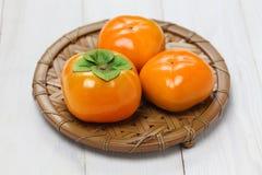 次郎亚洲柿树,日本柿子 免版税库存图片