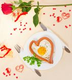 欢乐一顿早餐在情人节 免版税图库摄影