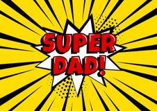 欢乐卡片为父亲节 与超级爸爸的白色可笑的泡影在流行艺术样式的黄色背景的 也corel凹道例证向量 向量例证
