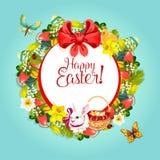 欢乐卡片设计的复活节花卉花圈框架