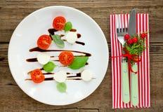 欢乐圣诞节开胃菜caprese沙拉塑造了圣诞树 库存照片