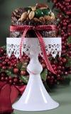 欢乐圣诞节食物、果子蛋糕用糖渍的樱桃和坚果在白蛋糕站立-垂直 免版税库存照片