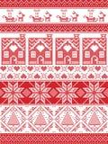 欢乐在发怒针的冬天无缝的样式与华而不实的屋,圣诞树,心脏,驯鹿,雪橇,礼物,装饰品 库存照片