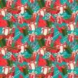欢乐在vint的圣诞节和新年无缝的礼物样式 免版税库存照片