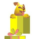 欢乐小狗 礼物和惊奇 库存图片