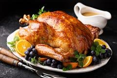 欢乐庆祝感恩的烤火鸡 免版税库存照片