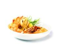 欢乐开胃菜,与大蒜奶油的烤黑老虎虾 免版税库存图片