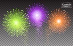 欢乐明亮地五颜六色的传染媒介烟花和致敬发光的三色烟花 库存图片