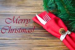 欢乐晚餐的圣诞节装饰 免版税图库摄影