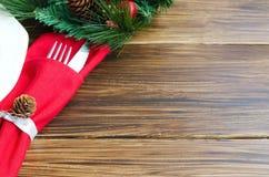欢乐晚餐的圣诞节装饰 库存图片
