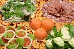 欢乐桌的开胃菜 免版税库存图片