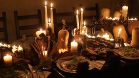 欢乐桌装饰的万圣夜 影视素材