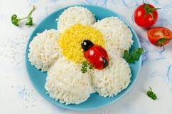 欢乐沙拉形状的春黄菊 免版税库存图片