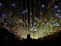 欢乐照明在城市对寒假,俄罗斯,莫斯科,Nikolskaya街道 免版税库存照片