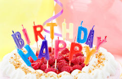 欢乐生日蛋糕的庆祝 库存照片