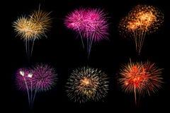 欢乐破裂在vari的被仿造五颜六色的被分类的烟花 免版税库存照片