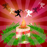 欢乐红色明亮的背景 美好的蜡烛 分支结构树 为圣诞节做准备 夜间人浪漫日落等待的妇女 诗歌选 免版税库存图片