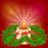 欢乐红色明亮的背景 美好的蜡烛 分支结构树 为圣诞节做准备 收获设计 向量 免版税图库摄影