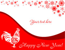 欢乐红色横幅新年 雄鸡的年 库存图片