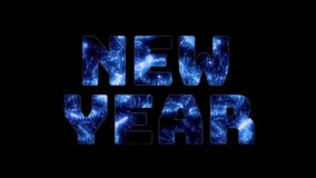 欢乐背景的圣诞节 蓝色烟花在大题字新年里面 许多齐射宽视角 重婚 向量例证