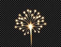 欢乐金黄烟花致敬爆炸,在透明方格的背景的闪光 例证 免版税库存照片