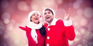 欢乐年轻夫妇的综合图象 免版税库存照片