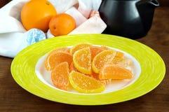 欢乐以柑橘切片的形式甜点五颜六色的果冻糖果,报道用糖 库存照片