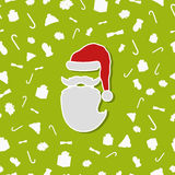 欢乐绿色与抽象平的圣诞老人的圣诞节无缝的样式 免版税库存图片