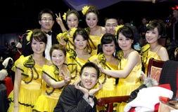 欢呼中国人显示学员 免版税库存照片