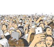 欢呼和记录与电话的音乐会观众的例证在生活节日党表现 皇族释放例证