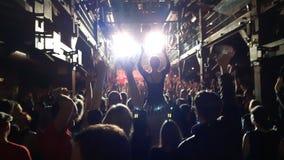 欢呼在音乐会展示的人群 免版税库存图片