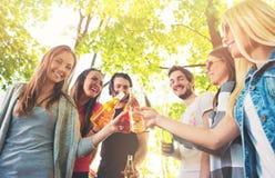 欢呼小组的青年人,获得乐趣 免版税库存照片