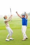 欢呼的打高尔夫球的夫妇 库存图片