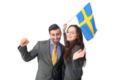欢呼的瑞典夫妇 图库摄影