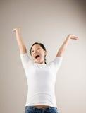 欢呼的兴奋妇女 免版税库存照片