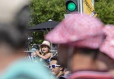 欢呼骑自行车者-环法自行车赛2018年 免版税库存图片