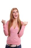 欢腾的妇女年轻人 免版税库存照片