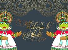 欢迎光临印度-手字法题字 免版税库存图片