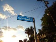 欢迎光临路的危地马拉 免版税库存照片