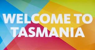欢迎光临塔斯马尼亚岛 库存照片