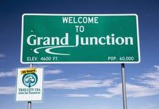 欢迎光临大章克申,科罗拉多,美国 库存图片