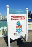 欢迎光临开曼群岛在乔治市 库存照片