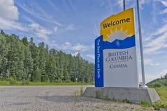欢迎到不列颠哥伦比亚省标志 免版税图库摄影