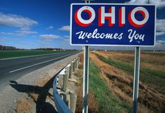 欢迎到俄亥俄符号 库存照片