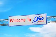欢迎到俄亥俄符号 库存图片